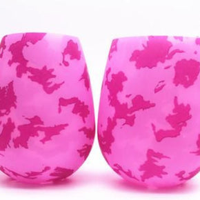 IN STOCK: Silicone Wineglass: Pink Camouflage