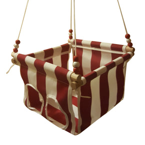 Red & White Striped Toddler Canvas Swing