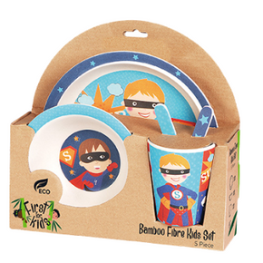 Superhero Bamboo 5 Piece Dinner Set