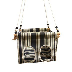 Navy  & Grey Striped Baby and Toddler Canvas Swing
