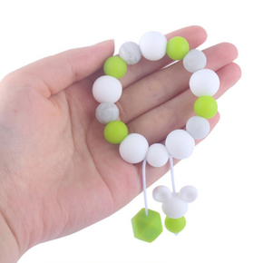 Silicone Bead Teething Ring with Dangles (various colours)