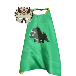Triceratops Cape and Mask (Blue and Green)