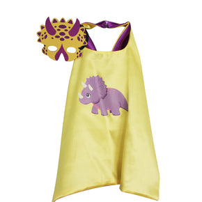 Triceratops Cape and Mask (Purple and Yellow)