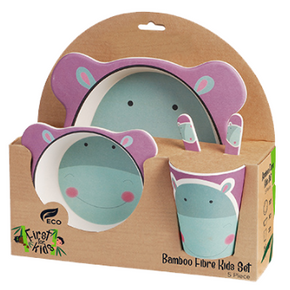 Hippo Bamboo 5 Piece Dinner Set