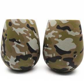 Set of 4: Camouflage Wine Glasses