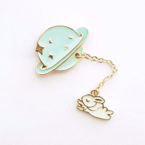 Saturn Rabbit Enamel Pin / Brooch