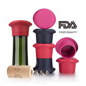 Silicone Resealable Wine Bottle Stoppers (Set of 3)