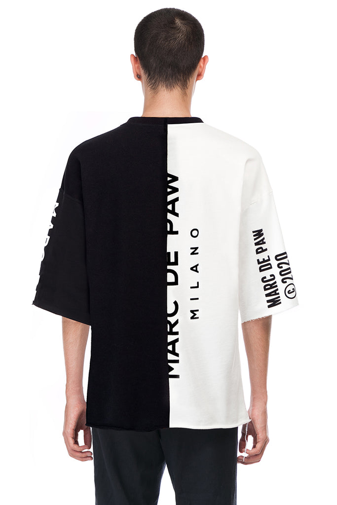 Black and White Color-blocked logo T-shirt #1