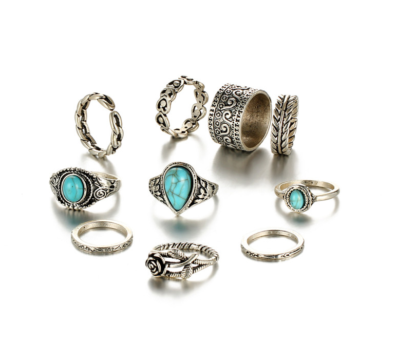 10 Piece Blue Stone Ring Set