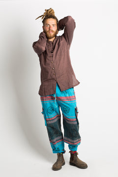 Handmade Unisex Blue Patterned Nepalese Pants - Hippie Hut