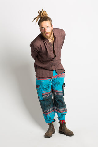 Handmade Unisex Blue Patterned Nepalese Pants