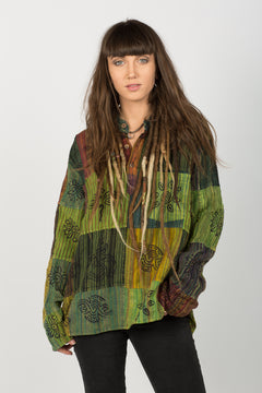 Handmade Green Nepalese Shirt - Hippie Hut