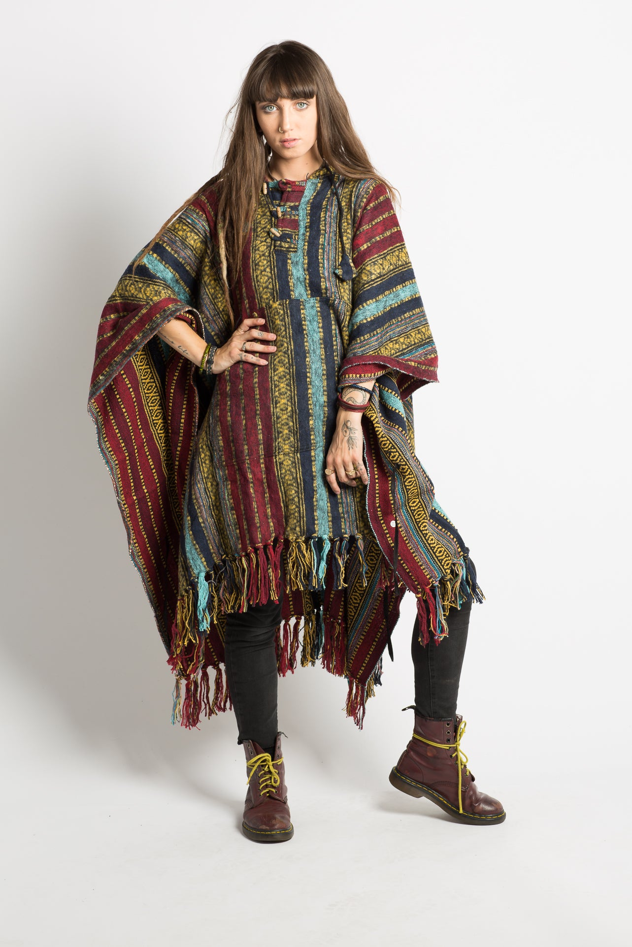 Handmade Red & Blue Nepalese Poncho