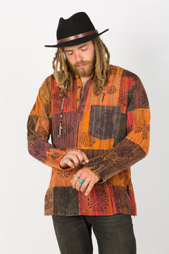 Handmade Red Nepalese Shirt - Hippie Hut