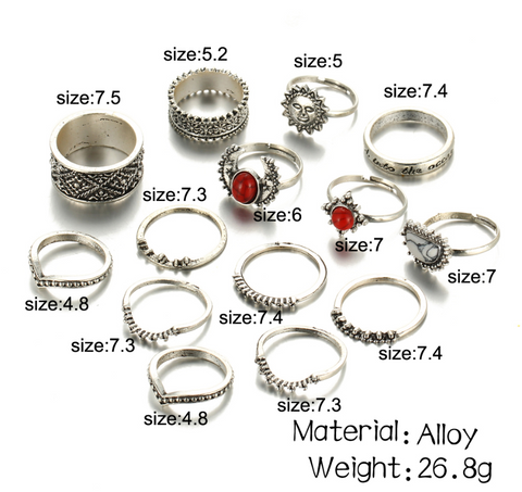 14 Piece Red Stone Ring Set