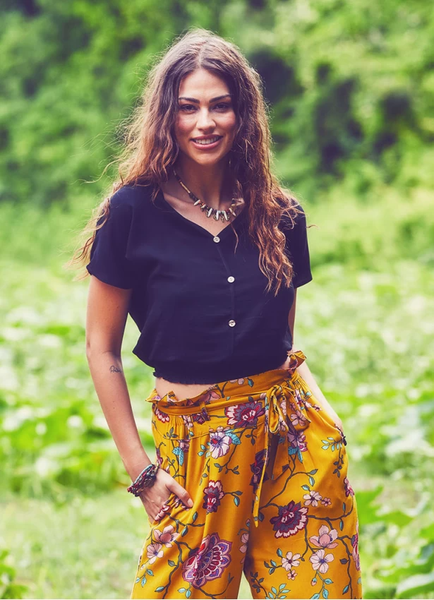 Black V Neck Boho Crop Top