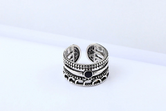Black And Silver Vintage Ring - Hippie Hut