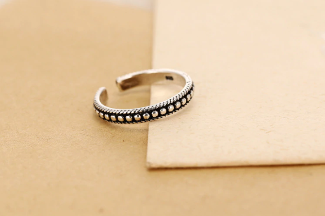 Thin Black and Silver Hippie Ring