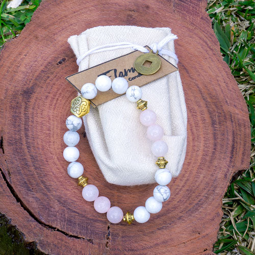 Rose Quartz and White Howlite Crystal Bracelet
