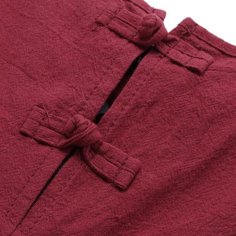 Red Loose Linen Overalls
