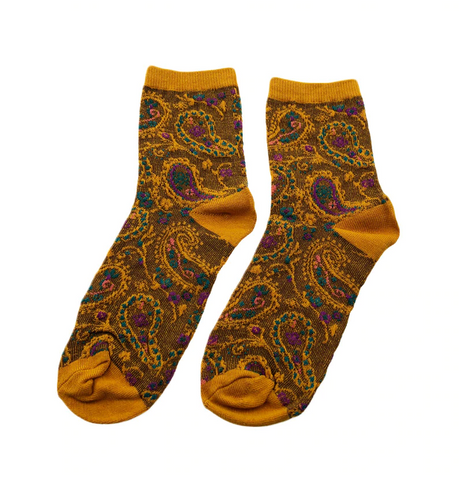 Patterned Hippie Socks - Yellow