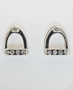 Earrings, Stirrup With Stones Earring Imitation Rhodium Finish
