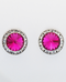 Earrings, Swarovski Fuschia Rivoli Stone With Crystal Stone Imitation Rhodium Earring