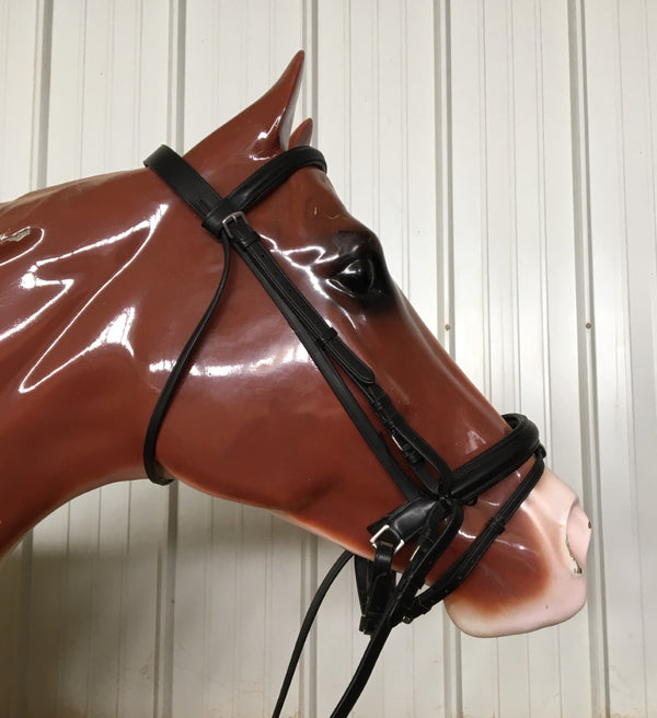Dressage Bridle with Crank Noseband and Flash Attachment