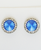 Earrings, Swarovski Sapphire Rivoli Stone With Crystal Stone Imitation Rhodium Earring
