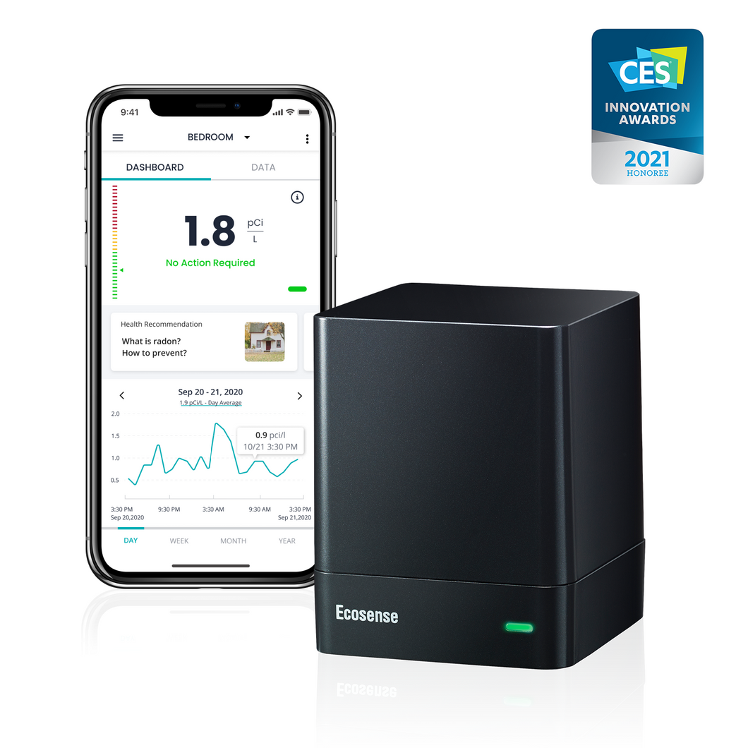 CES Innovation Award 2021 Radon Detector EcoQube and Smartphone App