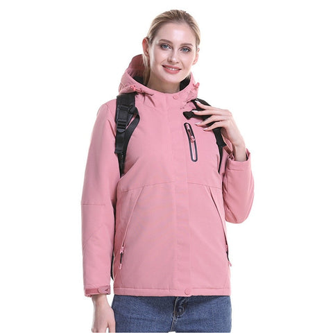 Fashion Men Women Winter Waterproof USB Infrared Heating Hooded Jacket Electric Thermal Clothing Coat For Sports Climbing Hiking