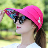 Golf Hat Lady Summer Travel Folding Korean Version of The Sun Women Outdoor Hat Anti-ultraviolet Cotton Flower Girl Baseball Hat