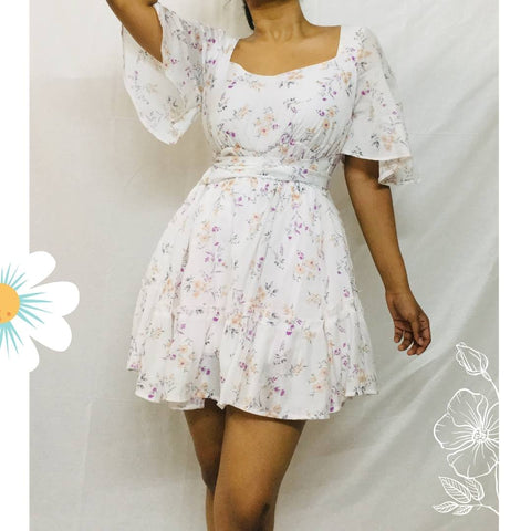 BM - White Floral Georgette Mini