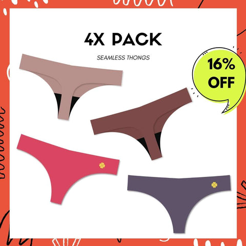 4X Pack - NVPL Seamless Thongs