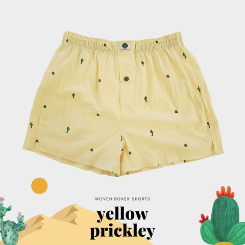 Woven Boxer - Yellow Prickly Pear