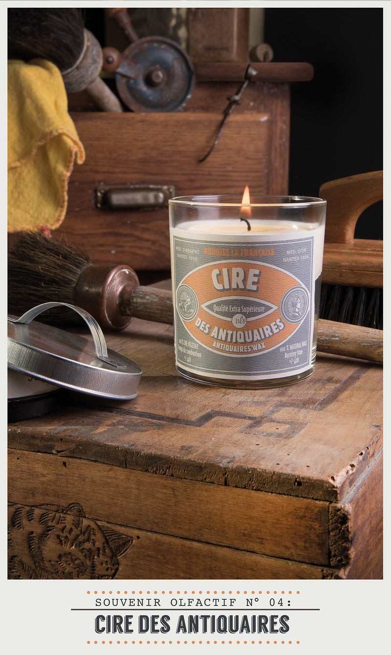 Scented Candle in Glass with Galvanised Lid 'Antiquaires Wax'