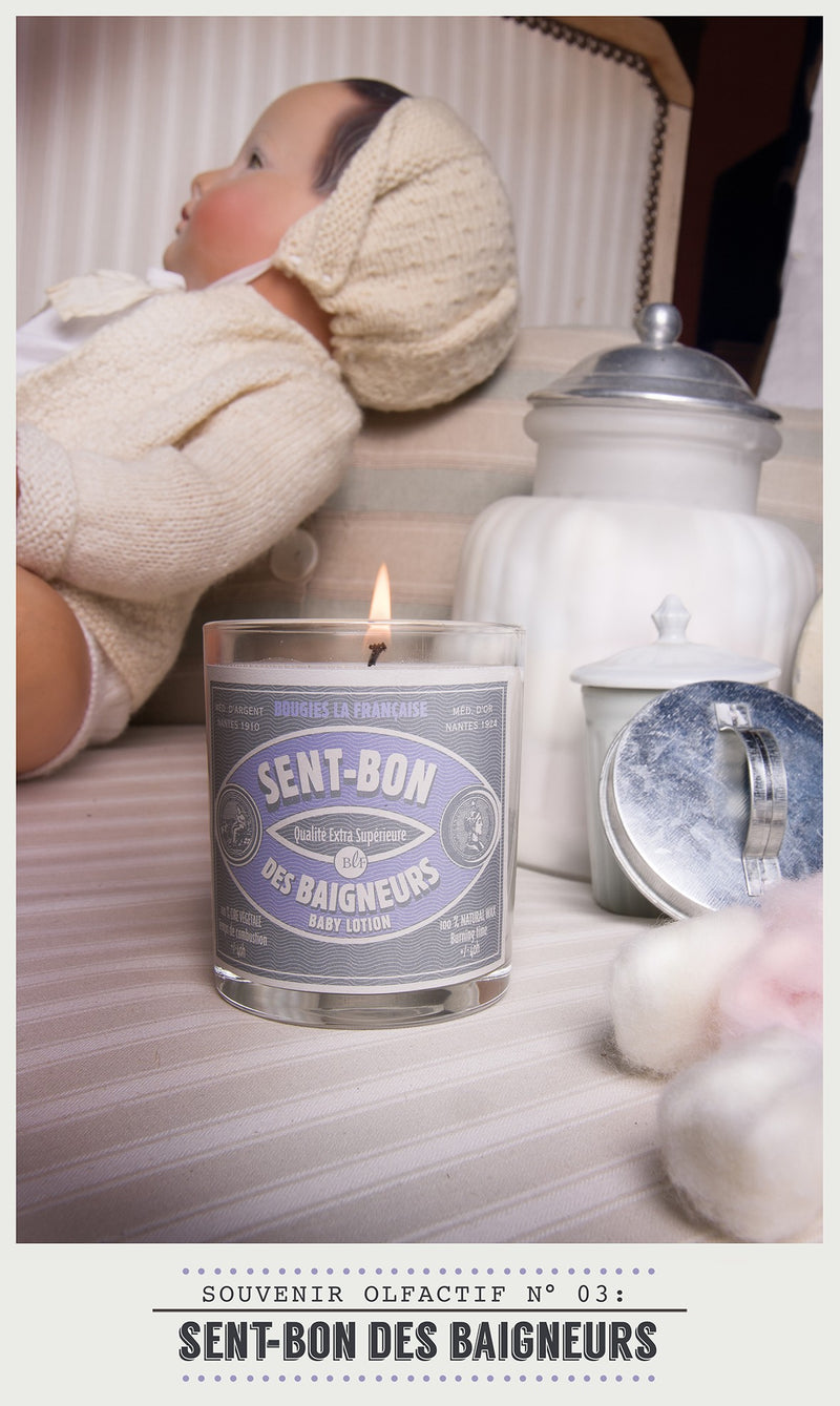 Scented Candle in Glass with Galvanised Lid 'Baby Lotion'