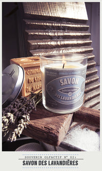 Scented Candle in Glass with Galvanised Lid 'Lavandieres'