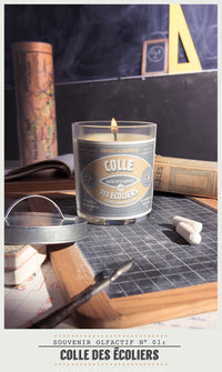 Scented Candle in Glass with Galvanised Lid 'School Paper glue'