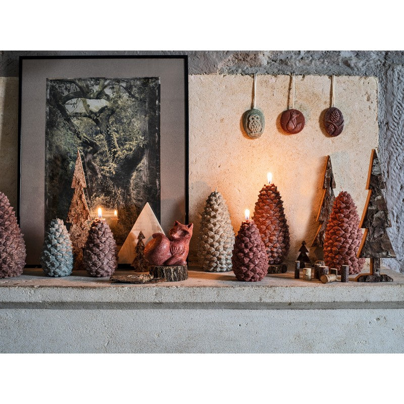 Pine Cone Candle Large Red
