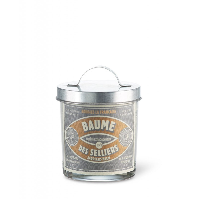 Scented Candle in Glass with Galvanised Lid 'Saddlers Balm'