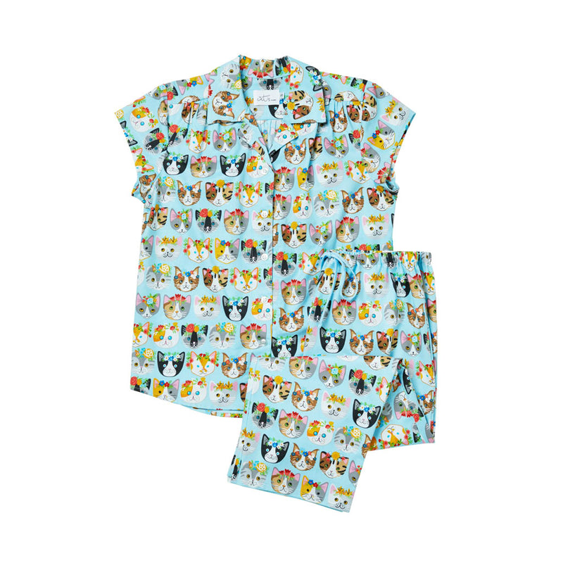 Cat's Pajamas - Flower Kitty Poplin Capri Pajamas