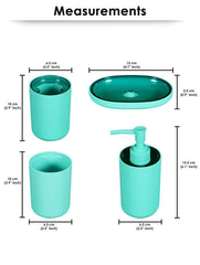 Premium Bathroom Accessories Set - Light Turquoise Story@Home