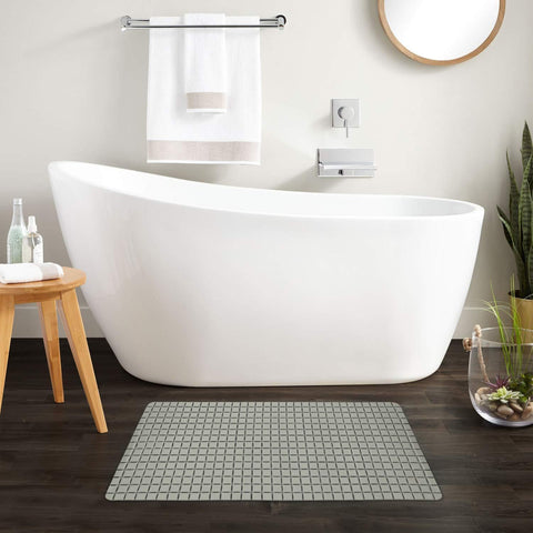 "Story@Home Soft Bath Mosaic PVC Bath Mat - 28"" X 16"", Grey Story@Home"