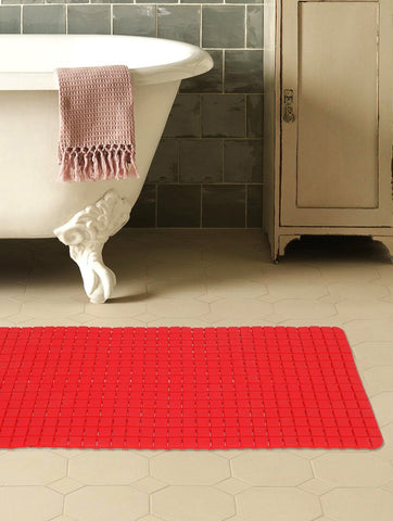 "Story@Home Soft Bath Mosaic PVC Bath Mat - 28"" X 16"", Red Story@Home"