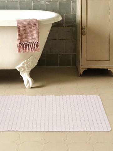 "Story@Home Soft Bath Mosaic PVC Bath Mat - 28"" X 16"", White Story@Home"
