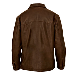 Youth Leather Barn Jacket - Brown