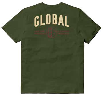 Global - T-Shirt Con Taschino Ricamato E Stampa Retro