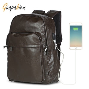 Leather Waterproof Backpack with USB port opening