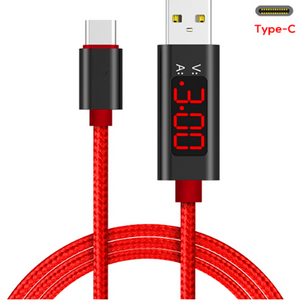 QC 3.0 Fast Charge USB C-Cable, Voltage and Current Display Durable Nylon Braided Cable